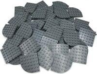 Lego 50 New Dark Bluish Gray Plates Round Corner 6 x 6 Dot Pieces