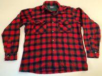 Vtg Pendleton Shirt 100% Wool Button Front Plaid Lumberjack Red Green Large EUC