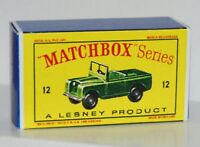 Matchbox Lesney 12 LAND ROVER SERIES II Repro  style D Box