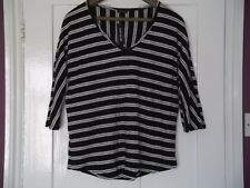 BLACK & WHITE STRIPE HOOPED TOP : Size 12 : NEW WITH TAGS