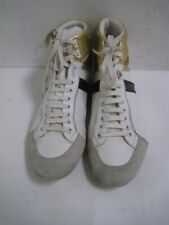 DIOR HOMME White With Metallic Leather High Top Sneakers Size 44