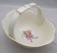 """Porcelain BOW BASKET Ivory w/ Scalloped Edge Gold Trim Floral 6"""" CANDY DISH"""