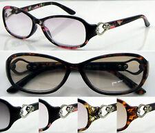 SL436 Women's Light Tinted Lenses Reading Glasses/Diamante & Metal Ring Detailed