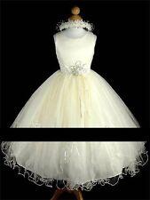 Satin Blanc Ivoire Tulle demoiselle d'honneur/Fleur Fille/Robe De Communion 9-10 ans