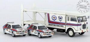 BREKINA 58476 camion Fiat 643 bisarca trasporto auto con Lancia Delta Martini -