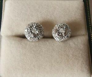 Beautiful Sterling Silver REAL Diamond Lovely Earrings