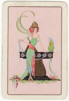 Playing Cards 1 Single Card Old ROARING 20's LADY GIRL + PARROT BIRD Art Picture