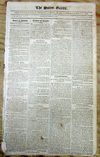 1801 newspaper JOHN ADAMS letter afterHIS DEFEAT for RE-ELECTION as US President