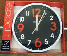 """EPOCH 12"""" WALL CLOCK- WHITE SURROUND AND BLACK DIAL"""