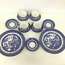 Retro Churchill England Blue Willow Pattern Plates Saucers And Cups #710