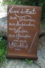 Edelrost Tafel Nimm dir Zeit..Spruch Garten Metall Rost Schild Geschenk Deko