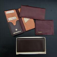 BANK HAPOALIM Israel Vtg 70's Leather Mens 4 Leather Brown & Red Wallets