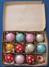 VINTAGE DOZEN CHRISTMAS TREE GLASS BAUBLES DAISY FLOWERS LARGE DECORATIONS BOXED