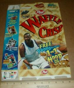 VTG Post Waffle Crisp 1998 MT Cereal Box Penny Hardaway basketball hoops game