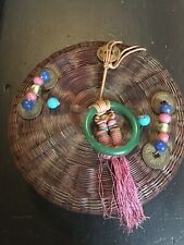 ANTIQUE CHINESE SEWING BASKET WITH GLASS BEADS,SILK TASSEL & COINS And Jade ring