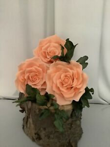 3 Large Peach Roses, Cake topper/decoration