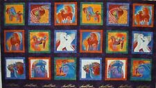 Pre-cut 18 Block Panel Laurel Burch Embracing Horses Y1529-28M Dark Purple Met