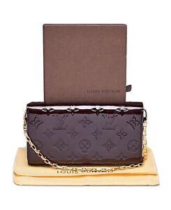 LOUIS VUITTON Vernis Chain Clutch Wallet Bag Amarante / M350-2146