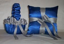 HORIZON BLUE SATIN /  SILVER TRIM FLOWER GIRL BASKET & RING BEARER PILLOW #3