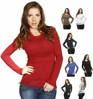 New Casual Basic Stretch Long Sleeve Plain Crew Round Scoop Neck T Shirt Tee Top