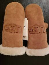 Ugg NEW Leather and Shearling LOGO Women's Mittens Large/XL