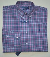 New XXL XL L M POLO RALPH LAUREN Mens button down dress blue plaid dress shirt