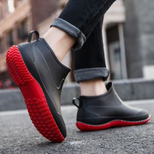 Womens Mens Short Leg Rainy Wellies Wellington Rain Boots Waterproof Shoes Warm