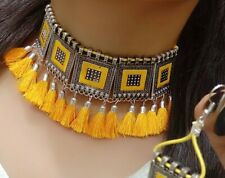 Indian Pakistan Fashion Kundan Necklace Earring Beads Yellow Ethnic Jewelry Wife