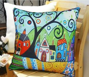 Barn Sheep VELVET PILLOW COVER Folk Art Abstract Various Sizes KARLA GERARD