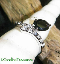 ELEGANT 9K WHITE GOLD FILLED RING ONYX & CUBIC ZIRCONIA CLEAR ACCENTS SIZE 5.75