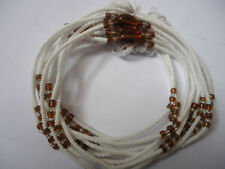 3-in-1 Sexy African Waist Beads, White & Brown 35'' inches long New FREE P&P