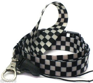 """Black and White Checkered Design 15"""" lanyard for ID Holder + Mobile Devices-VE3"""