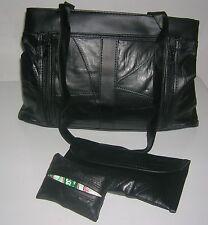 Patchwork Black Shoulder Bag Clutch Leather Double Strap W/ wallet &Tissue New