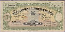 British West Africa-Lagos, 10 Shillings Banknote 4.1.1937 Very Fine Cat#7-B-7947