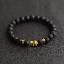 Fashion 8MM Natural Stone Diffuser Tibetan Gold Elephant Beads Charm Bracelets