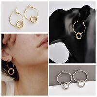 2019 Fashion Double Circle Geometry Metal Earring Ear Stud Earring Women Jewelry