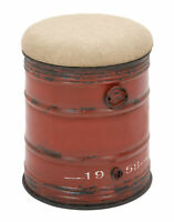 Zimlay Industrial Iron And Burlap Barrel Stool 69249
