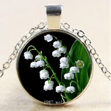 Photo Cabochon Glass Silver Chain Pendant Necklace(Lily of the Valley