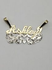 14k yellow and white real Gold Name plate Ashley charm pendant