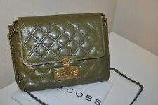 NWT Marc Jacobs LARGE BAROQUE Single Leather Shoulder Chain Bag Fern With Brass
