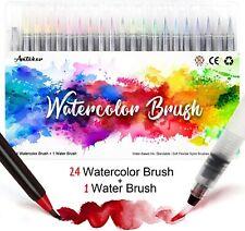 AMTEKER BRUSH PEN SET 24 piece watercolor +1 water brush Soft Nylon Tips - NEW