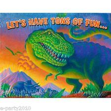 DINOSAUR INVITATIONS (8) ~ Birthday Party Supplies Stationery Invites T-Rex Card