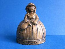"c.1900 Antique 3.5"" Victorian Dutch Lady Woman Old Brass Dinner Tea Bell Figural"