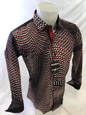 Mens BARABAS Designer Shirt Woven RED ABSTRACT MULTI COLOR SLIM FIT Button Up 38