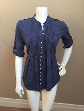Superdry Vintage Thrift Pierrot Navy Blue Cotton Pinstriped Buttoned Shirt S NEW