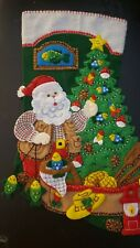 "Finished Bucilla "" Lodge Santa 18"" Christmas Stocking - Handstitched"