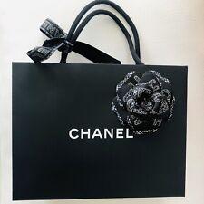 Chanel Medium Shopping Bag W/ Holiday Black Gold Camellia And Ribbon