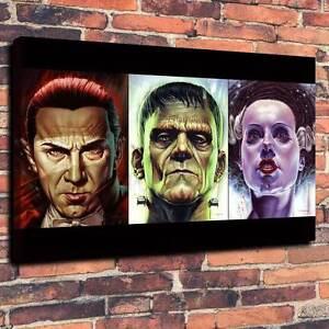 "Classic Horror Dracula, Frankenstein, Bride, Canvas A1.30""x20""~Deep 30mm Frame"