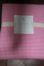 NEW POTTERY BARN KIDS Full Queen *PINK* GINGHAM Checked 100% Cotton DUVET COVER