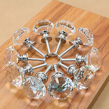 16X 40MM Clear Crystal Glass Door Knobs Handles Diamond Drawer Cabinet Furniture